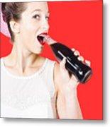 Old-fashion Pop Art Girl Drinking From Soda Bottle Metal Print