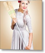 Old Fashion Woman Spring Cleaning With Broom Metal Print