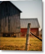 Old Fence With A Red Barn Metal Print