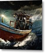 Old Fishing Boat In A Storm  L A Metal Print