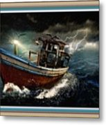 Old Fishing Boat In A Storm L B With Decorative Ornate Printed Frame. Metal Print