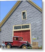 Old Ford Model A Pickup In Front Barn Metal Print