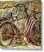 Old French Bicycles Metal Print by Debra and Dave Vanderlaan