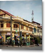 Old French Colonial Architecture In Kampot Town Street Cambodia Metal Print