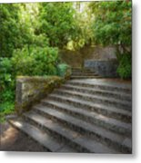 Old Garden With Stone Walls And Stair Steps Metal Print