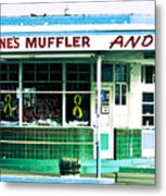 Old Gas Station Green Tile Metal Print