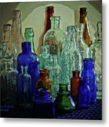 Old Glass Bottles Metal Print