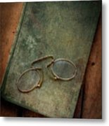 Old Glasses And Old Green Book Metal Print