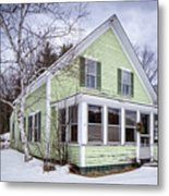 Old Green And White New Englander Home Metal Print