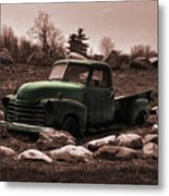 Old Green Truck Metal Print