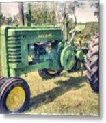 Old Green Vintage Tractor Watercolor Metal Print