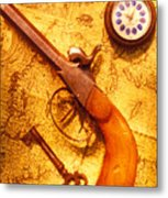 Old Gun On Old Map Metal Print