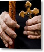 Old Hands And Crucifix  Metal Print