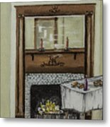 Old Homestead Fireplace  Metal Print