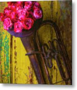 Old Horn And Roses On Door Metal Print