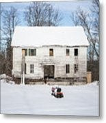 Old House In The Snow Springfield New Hampshire Metal Print