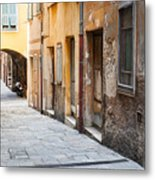 Old Houses On Narrow Street In Villefranche-sur-mer Metal Print
