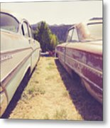 Old Junkyard Cars Chevy And Ford Utah Metal Print