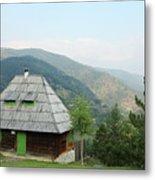 Old Log Cabin On Mountain Landscape Metal Print