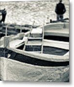 Old Man And Boat Metal Print