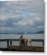 Old Man And His Dog Metal Print