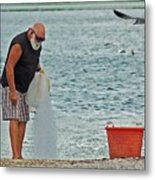 Old Man And The Net Metal Print