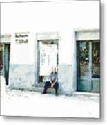 Old Man Sitting In Front Of A Shop Metal Print