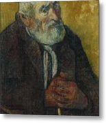 Old Man With A Stick Metal Print