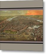 Old Manhattan Historic Illustration Metal Print