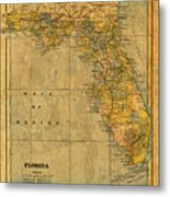 Old Map Of Florida Vintage Circa 1893 On Worn Distressed Parchment Metal Print