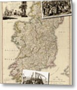 Vintage Map Of Ireland With Old Irish Woodcuts Metal Print