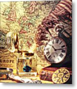 Old Maps And Ink Well Metal Print