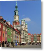 Old Marketplace And The Town Hall Poznan Poland Metal Print