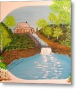 Old Mill And Falls Metal Print