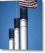 Old Mill Smoke Stacks With Flag Metal Print