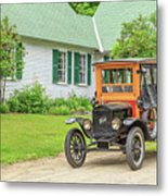 Old Model T Ford In Front Of House Metal Print