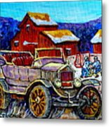 Old Model T Car Red Barns Canadian Winter Landscapes Outdoor Hockey Rink Paintings Carole Spandau Metal Print