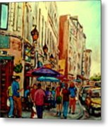 Old Montreal Cafes Metal Print