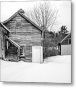 Old New England Barns In Winter Metal Print