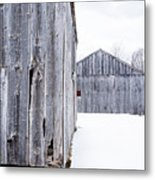 Old New England Barns Winter Metal Print