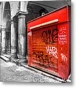 Old Newsstand Closed In Bologna Canvas - Technique Of Selective Color -  Black And White Only Red Metal Print