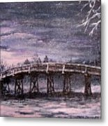 Old North Bridge In Winter Metal Print