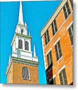 Old North Church Tower In  Boston-massachusetts Metal Print