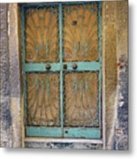 Old Ornate Wrought Iron Door In Venice, Italy  Metal Print