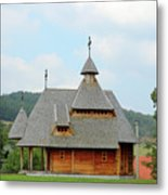 Old Orthodox Wooden Church On Hill Metal Print