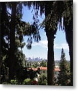 Old Palm Trees And Downtown Los Angeles Metal Print
