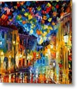Old Part Of Town - Palette Knife Oil Painting On Canvas By Leonid Afremov Metal Print