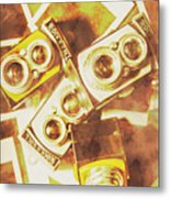 Old Photo Cameras Metal Print