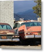 Old Plymouths With Mountain View  Metal Print