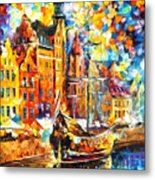 Old Port - Palette Knife Oil Painting On Canvas By Leonid Afremov Metal Print